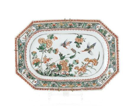 Ravier octogonal en porcelaine famille verte, Chine, dynastie Qing, époque Kangxi, [...]