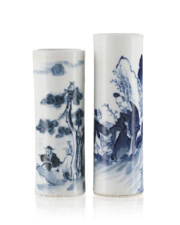 2 Bitong (pots à pinceaux) miniatures en porcelaine, Chine, XIX-XXe s., décor en [...]