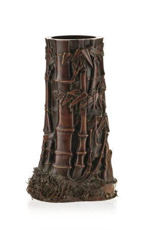Bitong (pot à pinceaux) en racine de bambou, Chine, dynastie Qing, décor de bambous [...]