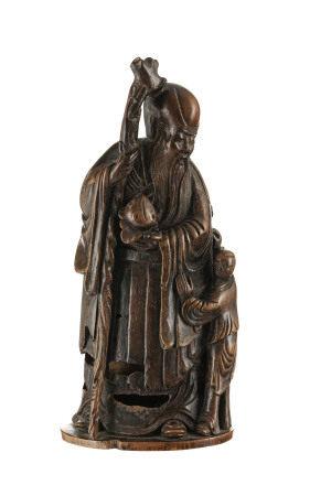 Shoulao accompagné d'un enfant, sculpture en racine de bambou, Chine, dynastie Qing, [...]
