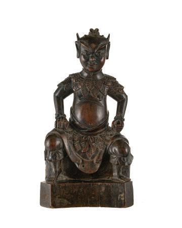 Shennong, Dieu de la médecine, assis, sculpture en bois, Chine, vêtu de feuilles, [...]