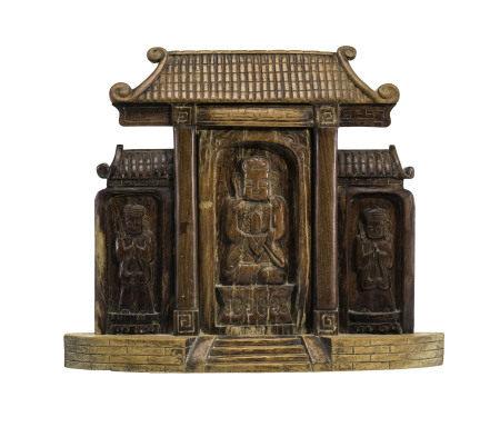 Autel taoïste en bois, Chine, probablement XIXe s., composé d'une divinité [...]