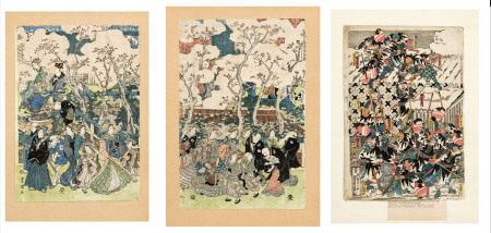 Utagawa Kunisada (Utagawa Toyokuni III, 1786-1865) 3 estampes format tate-e, Japon, [...]