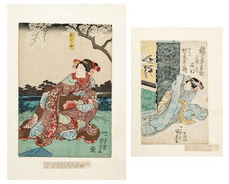 Utagawa Kuniyoshi (1798-1861), Acteurs, 2 estampes format tate-e, Japon, 38x24,5 cm [...]