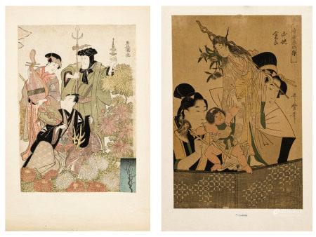 Utagawa Toyokuni I (1769-1825) et Kitagawa Utamaro (v. 1753-1806), 2 estampes format [...]