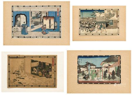 Utagawa Hiroshige I dit aussi Ando Hiroshige (1797-1858), 4 estampes, dont 2 au [...]