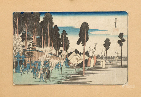 "Utagawa Hiroshige, Oji Inari yashiro (""Le temple Inari à Oji""), estampe format [...]"