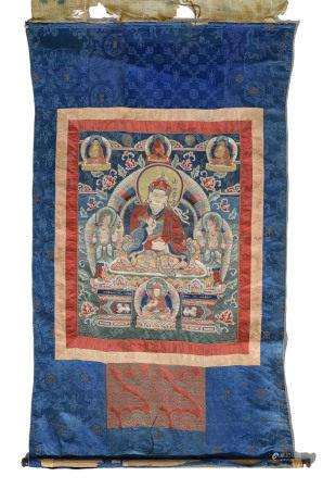 Thangka brodé de Padmasambhava (Guru Rinpoché), Tibet, XIXe s., le maître [...]