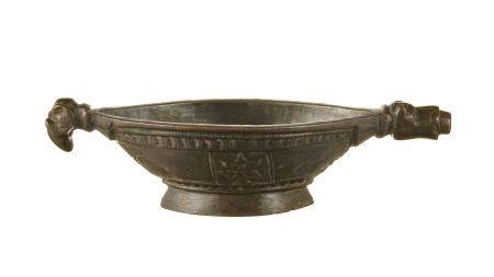 Kharal (mortier à opium) en bronze, Inde, Rajasthan, prise en forme de tête de [...]