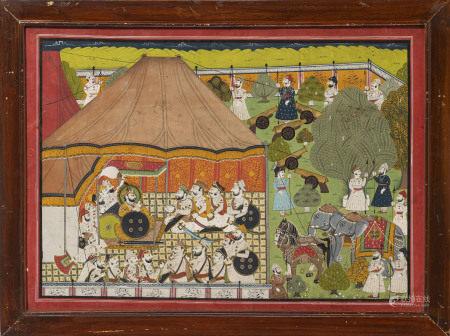 Le Maharaja Man Singh de Jodhpur Marwar (1783-1843) donnant le durbar sous une tente [...]