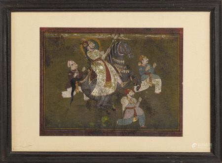 Le Maharaja Man Singh de Jodhpur Marwar (1783-1843 [1803-1843]), gouache sur papier, [...]