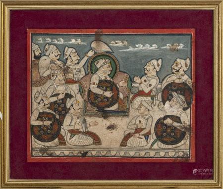 Damodarji II de Nathdwara (1797-1826) conférant avec des dignitaires sur une [...]