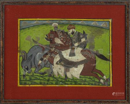 Scène de chasse avec le Maharaja Man Singh de Jodhpur, gouache sur papier, Inde, [...]