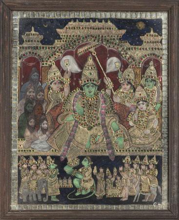 Le couronnement de Rama, techniques mixtes sous verre, Inde, Tanjore, XIX-XXe s., [...]