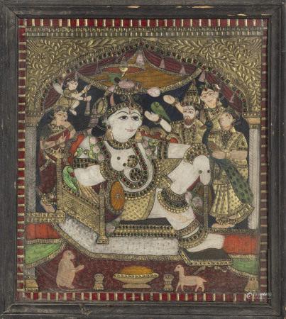 Krishna, techniques mixtes sous verre, Inde, Tanjore, XIX-XXe s., assis sur un [...]
