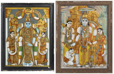 Rama et Shani, 2 techniques mixtes sous verre, Inde, Tanjore, XIX-XXe s., Rama [...]
