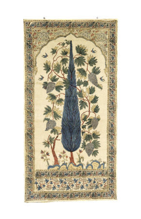 Batik monté sur châssis, probablement Inde du nord, XXe s., centre décoré d'un [...]