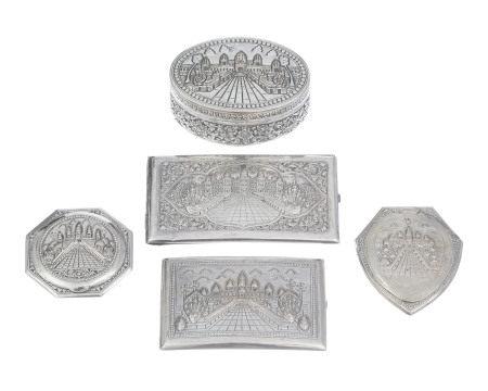 2 poudriers, 2 étuis à cigarettes et 1 boîte ovale en argent, Cambodge, c. [...]