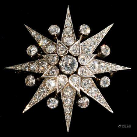 A DIAMOND STAR BROOCH, 20TH C  in the form of an eight pointed star, mounted in gold, 41mm, 15g Good