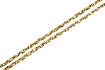 A GOLD LONG CHAIN, LATE 19TH C  approx 155cm, marked 9ct, 27.5g Light wear consistent with age, no