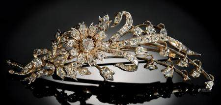 A BELLE EPOQUE DIAMOND SPRAY BROOCH, C1900  the flowerheads en tremblant, mounted in silver and