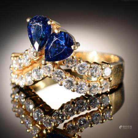 A SAPPHIRE AND DIAMOND DART RING  in gold, marked 18k, 6.5g, size N½ Good condition