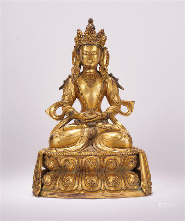 TIBETAN GILT BRONZE AMITABHA BUDDHA SEATED STATUE