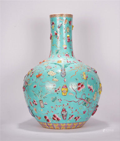 A CHINESE TURQUOISE BOTTOM FAMILLE ROSE FLOWER FU AND SHOU PATTERN  TIANQIU VASE