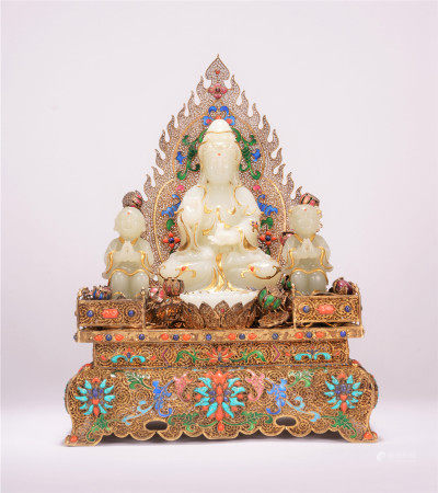 A CHINESE WHITE JADE CHILDREN-SENDING GUANYIN SEATED STATUE
