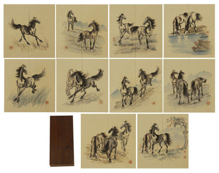TEN PAGES OF CHINESE PAINTING OF FINE HORSES