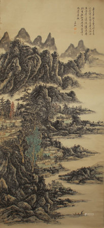 A CHINESE VERTICAL SCROLL OF PAINTING LANDSCAPE SCENERY BY HUANG BINHONG