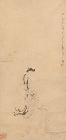 A CHINESE HANGED SCROLL OF PAINTING LADY BY CHEN MEI