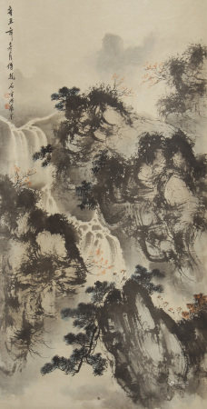 A CHINESE VERTICAL SCROLL OF PAINTING MOUNTAIN BY FY BAOSHI