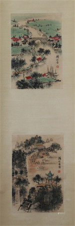 A CHINESE HANGING SCROLL OF PAINTING MOUNTAINS BY QIAN