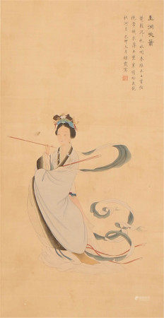 A CHINESE HANGED SCROLL OF PAINTING LADY BY ZHOU LIANXIA