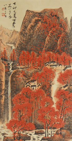 A CHINESE VERTICAL SCROLL OF PAINTING RED MOUNTAINS BY LI KE RAN
