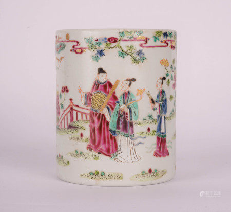 A CHINESE FAMILLE ROSE FIGURE AND STORY BRUSH POT