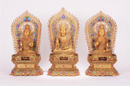 TIBETAN GILT SILVER FILIGREE TRIKALEA BUDDHAS SEATED STATUE