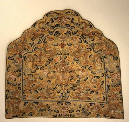 Qing dynasty embroidery backrest with dragon pattern