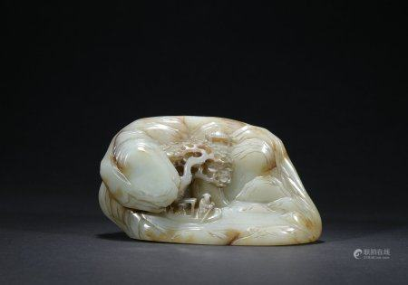 Qing dynasty jade ornament with figure and mountain pattern