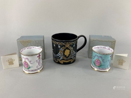The Royal Collection, a Harlequin pair of porcelain mugs, to commemorate the marriage of Price