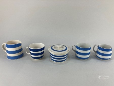 Three pieces of T G Green & Co blue and white striped Cornish Kitchen Ware, comprising two cups, one