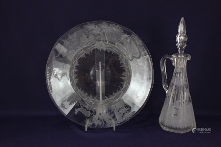 A Lobmeyr style glass dish, probably Austrian, engraved with stags amongst woodland, 34cm