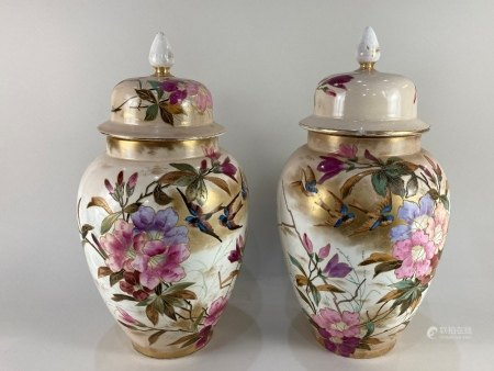 A pair of late 19th / early 20th century Franz Anton Mehlem for Royal Bonn porcelain urns and