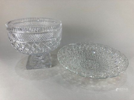 A large cut glass pedestal bowl, together with a moulded glass shallow dish 33cm diameter