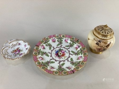 A Royal Worcester blush porcelain pot pourri with lid and pierced cover, model number 1314,