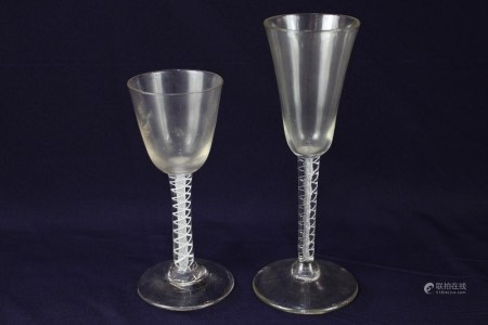 Two 18th century drinking glasses, comprising a wine glass, with cup shaped bowl on a double