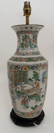 A CHINESE FAMILLE VERTE BALUSTER VASE painted with panels of courtiers in garden palaces within