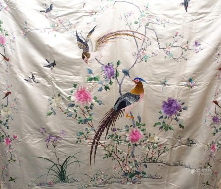 KAM SUN CO SILK BED COVERS The cream silk and brightly coloured bed spread woven with exotic birds