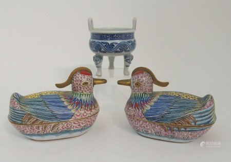 A PAIR OF CANTON ENAMEL MANDARIN DUCK TUREENS each painted with bright colours and with brass